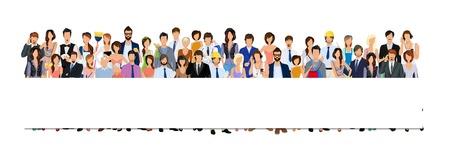 Illustration pour Large group crowd of people adult professionals paper horizontal banner illustration - image libre de droit