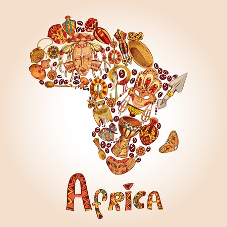 Illustration pour Africa sketch decorative icons in african continent shape travel concept illustration - image libre de droit