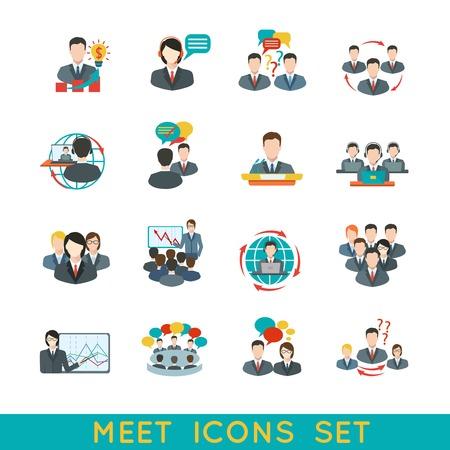 Vektor für Business meeting flat icons set of partnership planning conference elements isolated illustration. - Lizenzfreies Bild