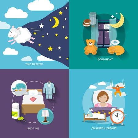 Sleep time icons flat set with good night bed colourful dreams isolated illustration