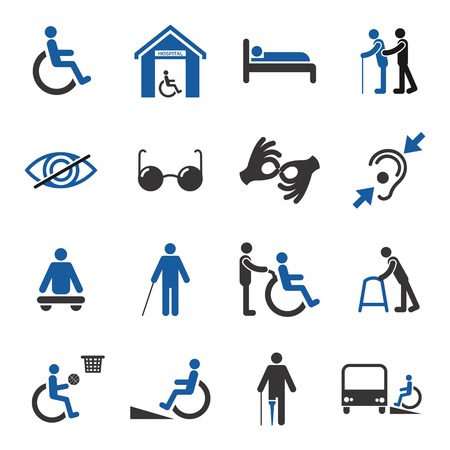 Illustration pour Disabled people care help assistance and accessibility icons set isolated illustration - image libre de droit