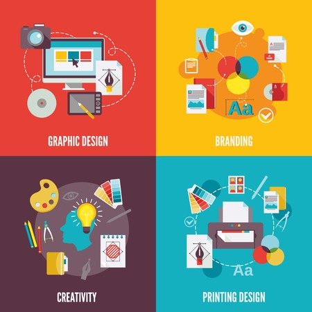 Ilustración de Graphic design flat icons set with branding creativity printing isolated illustration - Imagen libre de derechos