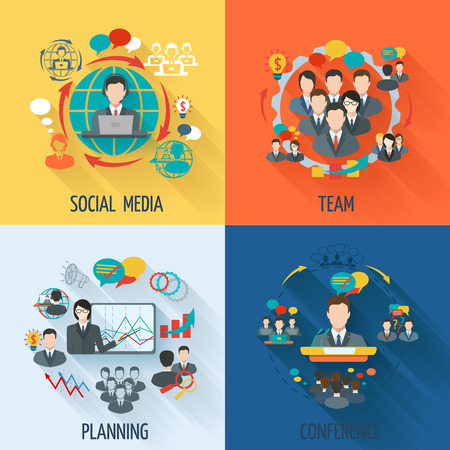 Illustration for Meeting icon flat set with social media team planning conference isolated illustration - Royalty Free Image
