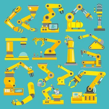 Ilustración de Robotic arm manufacture technology industry assembly mechanic flat decorative icons set isolated illustration - Imagen libre de derechos