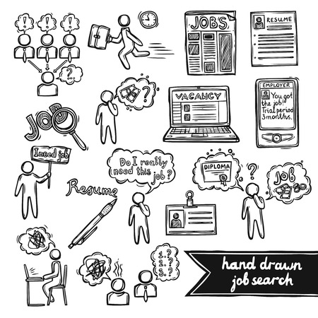Job interview sketch decorative icons set with job search interview recruitment isolated vector illustration