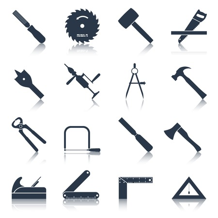 Illustration pour Carpentry wood work tools and equipment black icons set isolated vector illustration - image libre de droit