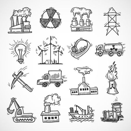 Industrial sketch icon set with oil fuel electricity and energy industry symbols isolated vector illustration