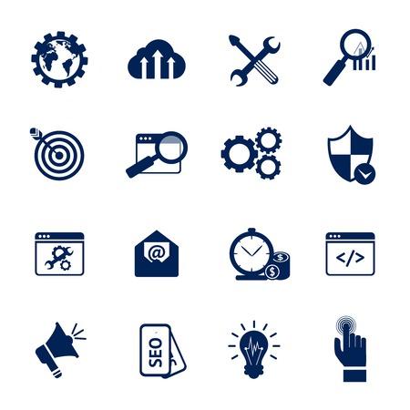 Ilustración de SEO internet marketing media marketing web site optimisation black and white icons set isolated vector illustration - Imagen libre de derechos