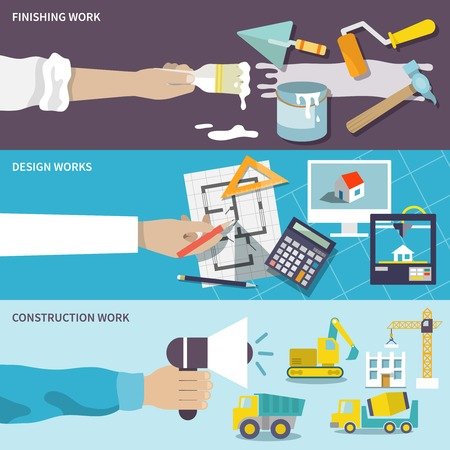 Illustration pour Construction design finishing work flat banner set with human hands isolated vector illustration - image libre de droit