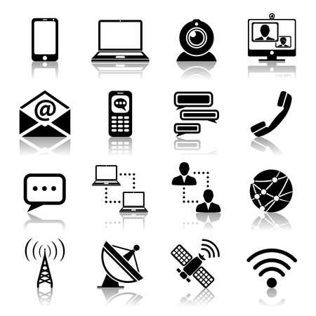Communication media and network broadcasting icons black set isolated vector illustration