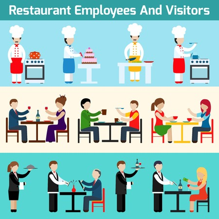Restaurant waiters employees and visitors flat banner set isolated vector illustration