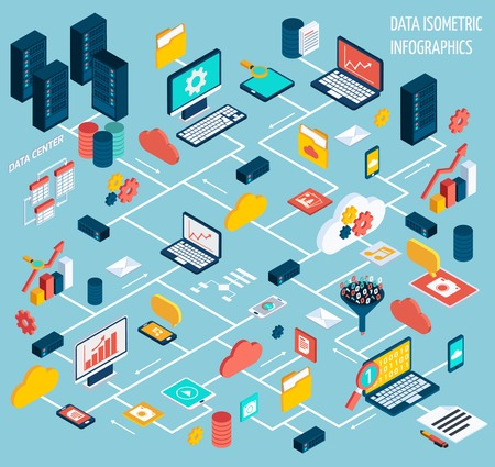 Illustration for Data infographic isometric set with data center and network elements vector illustration - Royalty Free Image