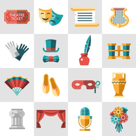 Theatre acting performance icons set with  ticket masks flat isolated vector illustration.