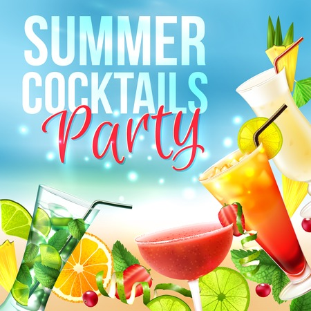 Cocktail party summer poster with alcohol drinks in glasses on blue background vector illustration