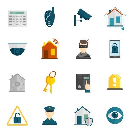 Vecteur De Home Security Icons Flat Set