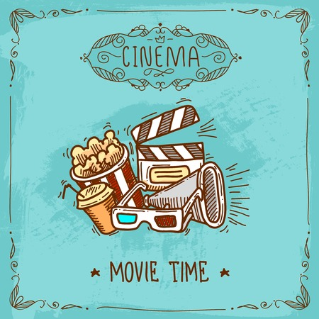 Cinema movie time sketch poster with popcorn glasses clapperboard and megaphone vector illustration