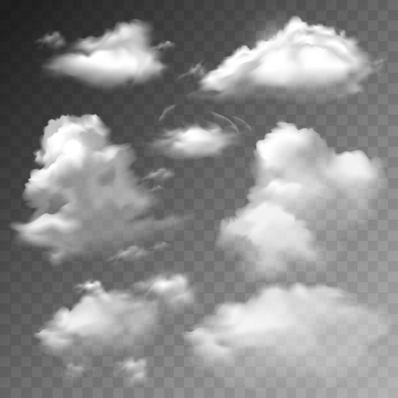 Illustration pour Transparent clouds spring sunny weather cloudscape realistic set vector illustration - image libre de droit