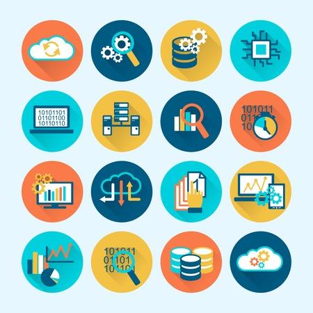 Illustration pour Database analytics digital network computing process icons flat set isolated vector illustration - image libre de droit