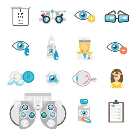Oculist flat icons set with eye glasses lenses eyeball isolated vector illustration