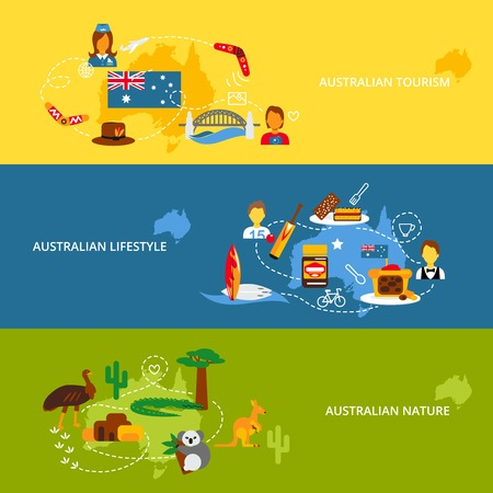 Vektor für Australia travel flat banner set with australian tourism lifestyle nature isolated vector illustration - Lizenzfreies Bild