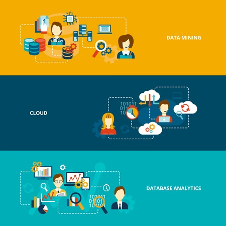 Database analytics banner flat set with data mining cloud isolated vector illustration