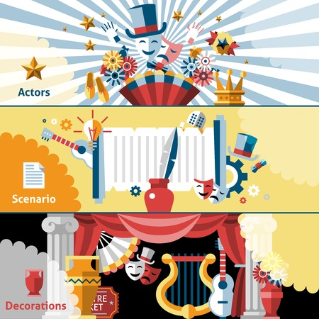 Theatre flat banner set with actors scenario  decorations isolated vector illustration.