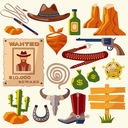 Wild west cowboy flat icons set with gun money bag hat isolated vector illustration