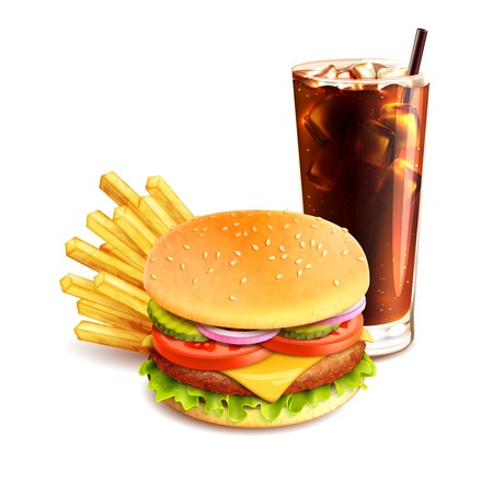 Hamburger french fries and cola realistic fast food icon isolated on white background vector illustration