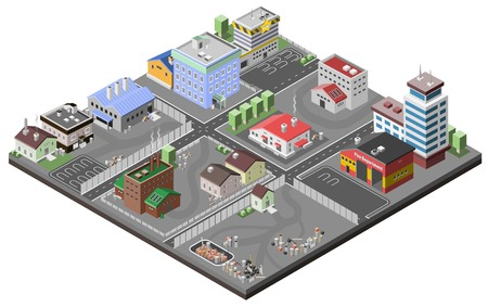 Illustration pour Industrial area concept with isometric plants factories police station and fire department buildings vector illustration - image libre de droit