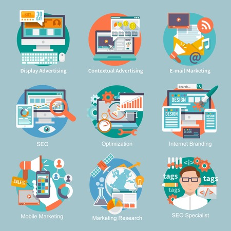 Ilustración de Seo internet marketing flat icon set with display contextual advertising e-mail marketing concepts isolated vector illustration - Imagen libre de derechos