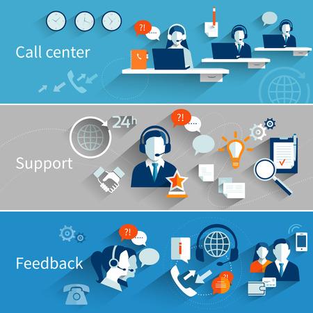 Ilustración de Customer service banners set with call center support feedback isolated vector illustration - Imagen libre de derechos