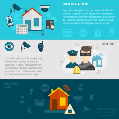 Home security flat banner set with smart house thief guard alarm system isolated vector illustration