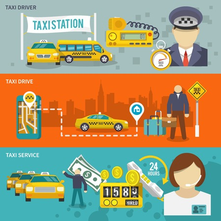 Taxi public auto transport banner set with driver drive service isolated vector illustration