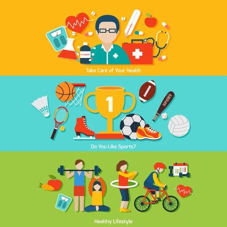 Sport flat banners set with health care and healthy lifestyle elements isolated vector illustration