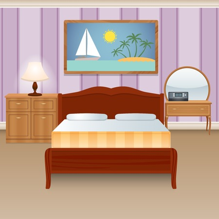 Bed room interior house apartment with furniture wardrobe decor poster vector illustration