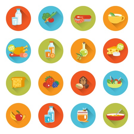 Healthy eating flat icons set with meat milk fish cheese isolated vector illustration