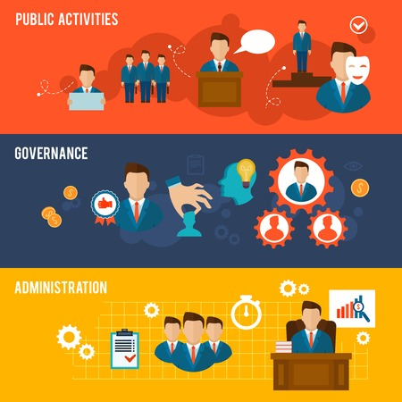 Foto de Executive banners icons set with public activities governance administration isolated vector illustration - Imagen libre de derechos
