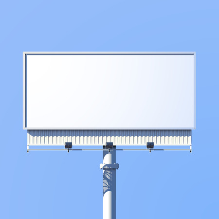 Illustration for Realistic 3d outdoor advertising billboard sign isolated on blue background vector illustration - Royalty Free Image