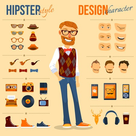 Ilustración de Male hipster character pack with geek fashion trendy elements isolated vector illustration - Imagen libre de derechos