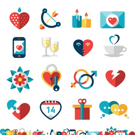 Dating decorative icons set with heart champagne love gift isolated vector illustration