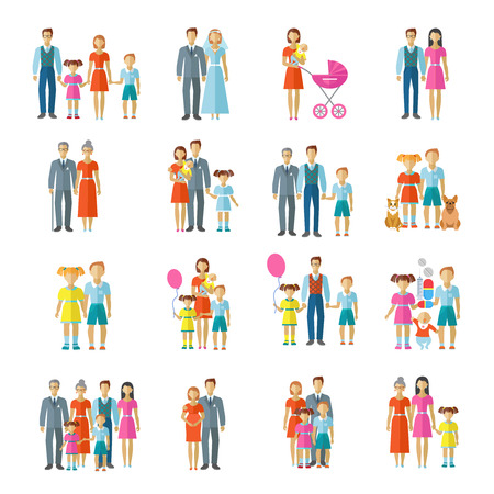 Foto de Family icons flat set with married couple children and pets avatars isolated vector illustration - Imagen libre de derechos