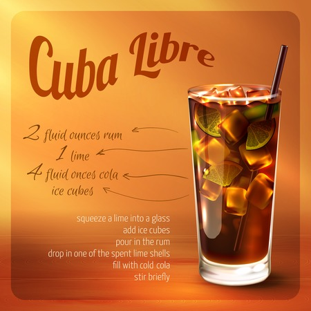Cuba libre cocktail recipe with drink in glass with drinking straw on brown background vector illustration
