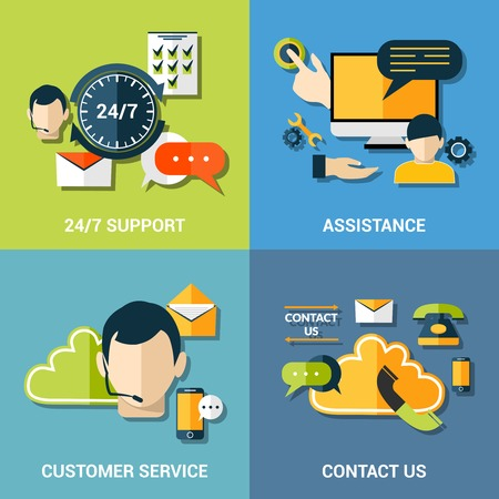 Contact us global concept flat icons of support assistance 24h customer service composition abstract isolated vector illustration
