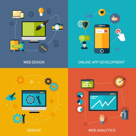 Ilustración de Web development design concept set with online apps analytic service isolated vector illustration - Imagen libre de derechos