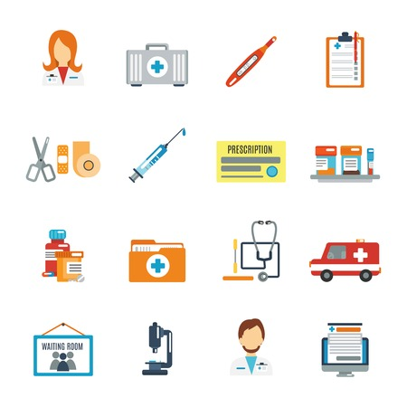 Ilustración de Doctor first aid icon flat set with pills thermometer syringe isolated vector illustration - Imagen libre de derechos