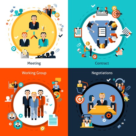 Vektor für Business meeting design concept set with meeting contract working group negotiations flat icons isolated vector illustration - Lizenzfreies Bild