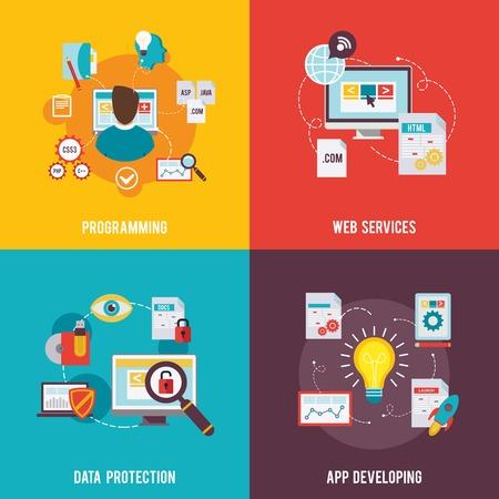 Illustration pour Programmer icon flat set with web services data protection app development isolated vector illustration - image libre de droit