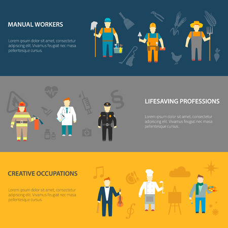 231a65c5 Profession cartoon male characters horizontal banners set of manual  creative and lifesaving occupations abstract isolated vector illustration