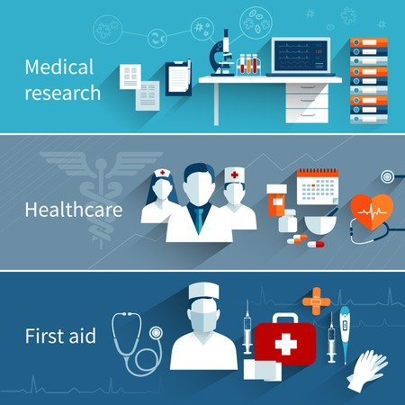 Medical flat banners set with research healthcare first aid