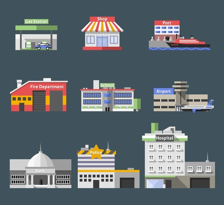 Government flat buildings decorative icons set with gas station shop port isolated vector illustration